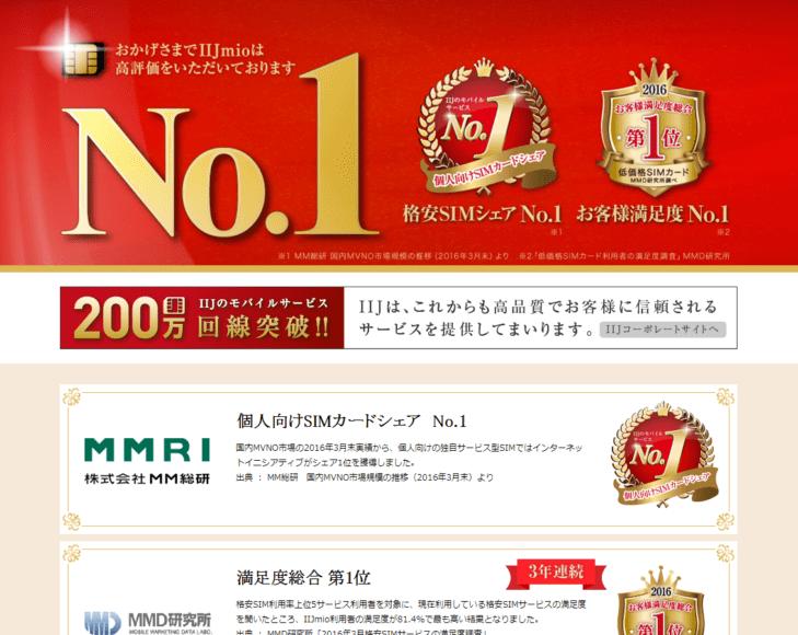 格安SIMサービスIIJmioは第三者機関で高く評価されています
