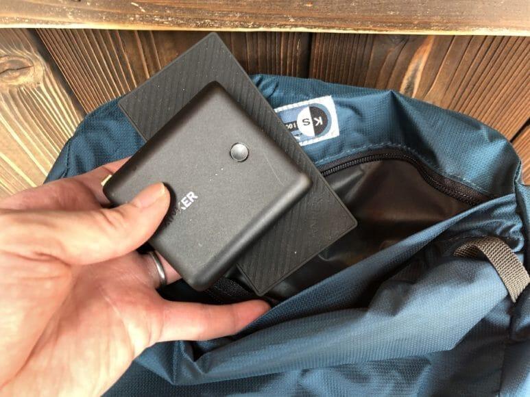 AnkerのSlim5000とFusion5000の2台のバッテリーをカリマーのリュックに一緒に入れてもかさばりません!
