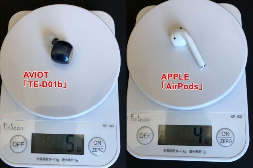 AVIOT「TE-D01b」はAirPodsに迫る片耳4.5g軽量ボディを実現させています。