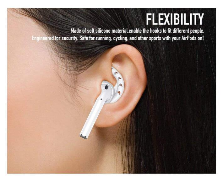 AirPods落下防止アイテム:イヤーフック型のフックは耳にフィットして安定感があります。