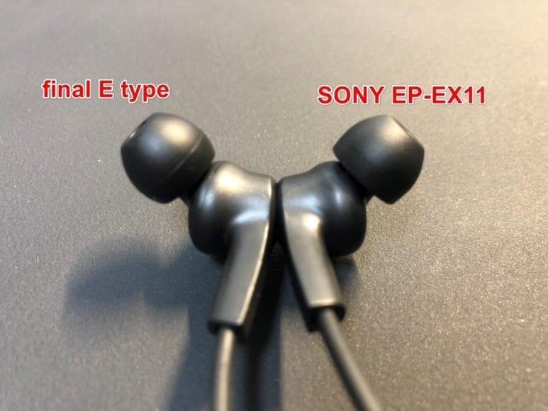 右がソニー「EP-EX11」、左がfinal「E type」