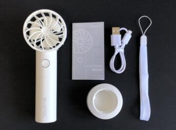 おすすめハンディ扇風機BLUEFEEL「mini head fan pro」の付属品一覧
