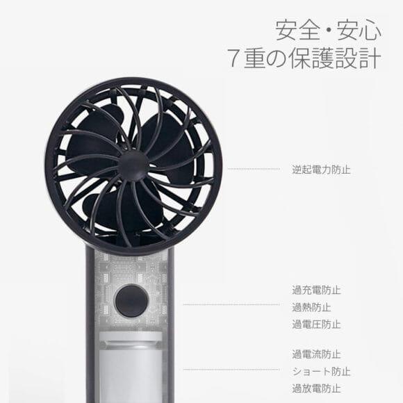 おすすめハンディ扇風機BLUEFEEL「BLUEFEEL PRO」は安心・安全に配慮した保護設計