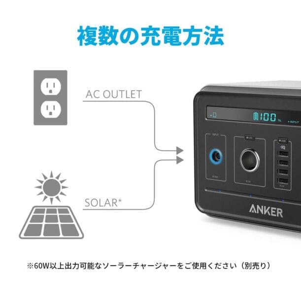 おすすめポータブル電源Anker「PowerHouse」 充電方法は二通りで、いずれもケーブルを接続するだけなのでカンタン手間なしです。