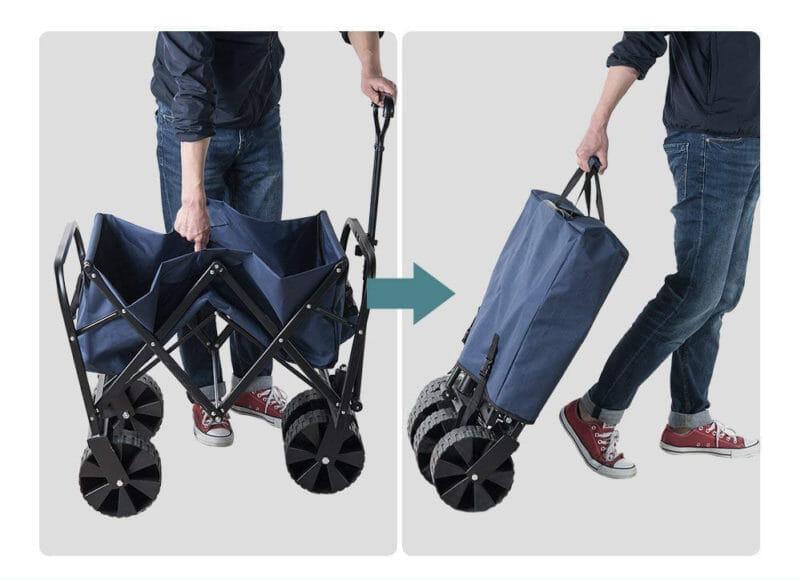アウトドア便利グッズ:キャリーワゴンまとめ 折り畳んだ状態で転がすことのできるキャリーワゴンがベター。
