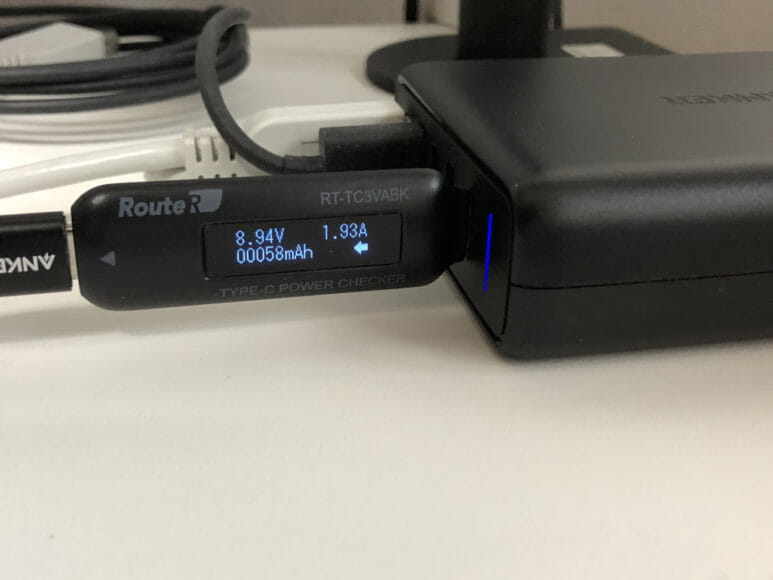 おすすめの充電器一体型モバイルバッテリーRAVPower「RP-PB122」|コンセントに挿して使う急速充電器と急速充電対応充電ケーブルを使った場合の電力供給量。