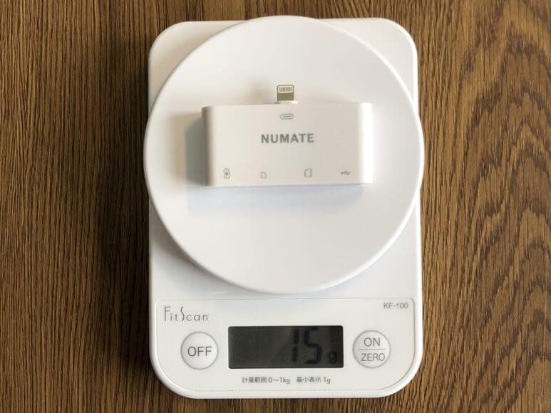 iPhone用おすすめSDカードリーダー&使い方まとめ|本体重量はわずか15gと軽量。