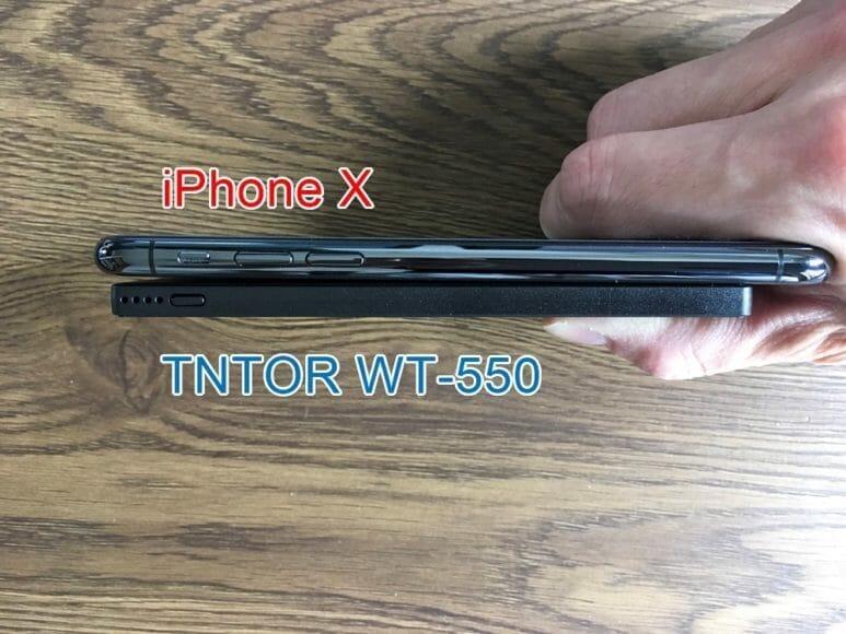 超薄型6mmモバイルバッテリーTNTOR WT-550レビュー|厚さをiPhone Xと比較してみました。