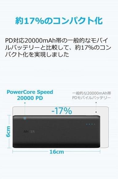 おすすめのモバイルバッテリーAnker「PowerCore Speed 20000 PD」レビュー|サイズ感も10000mAhクラスのモバイルバッテリーと比べて遜色のないコンパクトさ。