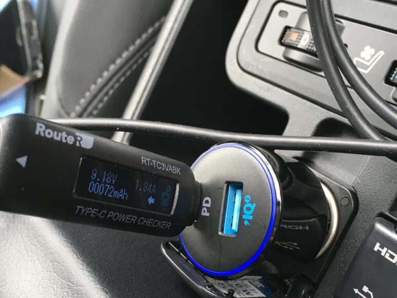 Anker「PowerDrive Speed+2-1 PD & 1 PowerIQ 2.0」レビュー 性能を実測してチェック:電力は16.9Wになりました。十分な電力が流れていることが分かりました。