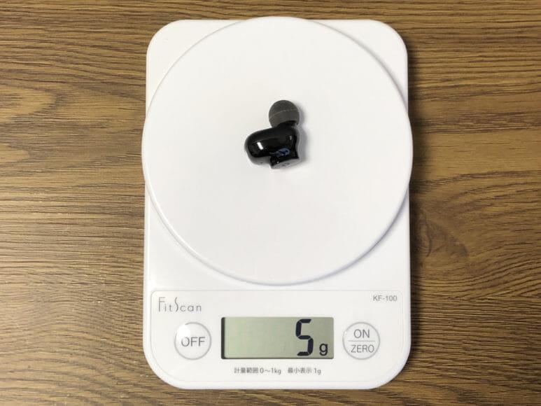 おすすめ完全ワイヤレスイヤホンGLIDiC「Sound Air TW-5000s」レビュー|イヤホン本体の重さは約5gと軽量です。
