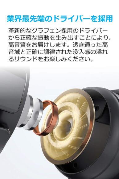 Anker Soundcore Liberty Airレビュー グラフェン素材を採用しているから安定した音質を生み出すことが可能になっています。