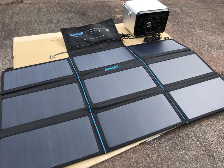 ソーラー充電器suaoki・Anker 60W比較レビュー|Anker「PowerPort Solar 60」を30分間DCケーブル接続でAnker「PowerHouse」を充電してみました。
