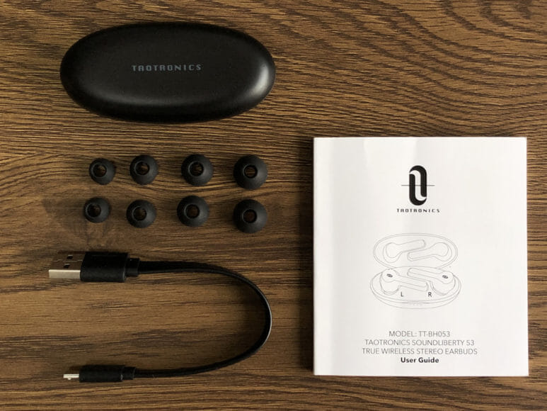 おすすめ完全ワイヤレスイヤホンTaoTronics「SoundLiberty 53(TT-BH053)」レビュー|付属品一覧