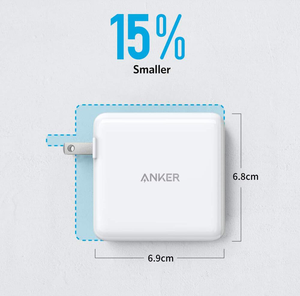 USB PD対応おすすめ小型急速充電器Anker「PowerPort Atom PD2」レビュー|メーカー曰く、一般的な60W出力の充電器よりも約15%ほどコンパクト化を実現させているんだとか。コンパクト+パワフル=正義。
