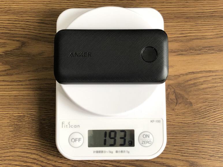Anker PowerCore 10000 PD Reduxレビュー|約193gの本体重量は言うまでもなく軽いです。