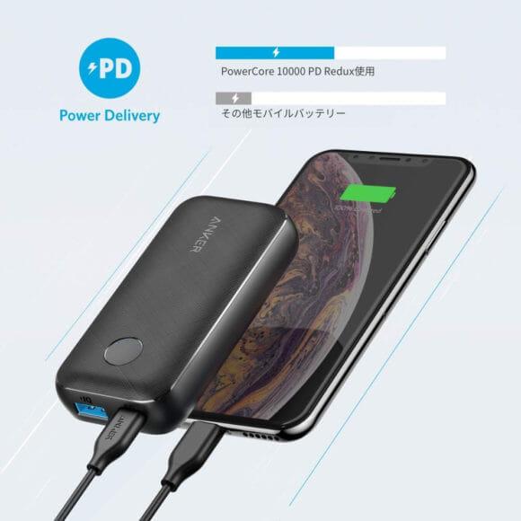 "Anker PowerCore 10000 PD Reduxレビュー|最大100Wもの電力を送ることができる電源供給規格""Power Delivery""に対応したUSB-Cポートを搭載しています。"