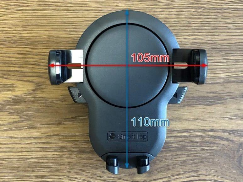 おすすめ車載スマホホルダー・スマートタップ「EasyOneTouch4 wireless」|ホルダー部分のサイズは幅105mm、高さ110mm。厚さは薄い部分で42mm、厚い部分で58mmです。