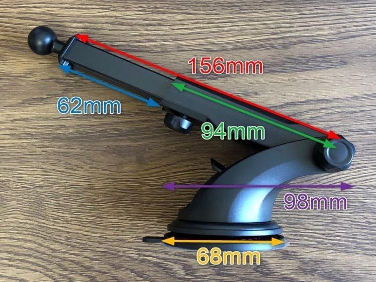 おすすめ車載スマホホルダー・スマートタップ「EasyOneTouch4 wireless」|吸盤部分のサイズは吸盤が直径68mm。アームが全長156mmです。