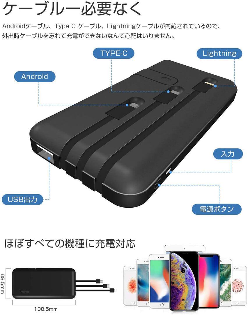 おすすめモバイルバッテリーTSUNEO「Power Bank 8K」レビュー|「Power Bank 8K」にはLightning・micro USB・Type-C充電ケーブルが本体背部に内蔵されています。