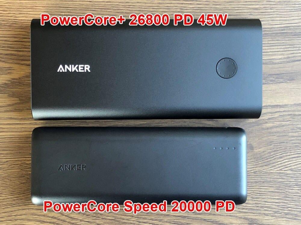 【Anker PowerCore+ 26800 PDレビュー】60W急速充電器+Type-C充電ケーブル+バッテリーで1万円!PD対応USB-C搭載おすすめ大容量モバイルバッテリー 外観:実際に先代機と並べてみると、ご覧の通り。 長さは12mm、幅は18mmほど大きくなりました。