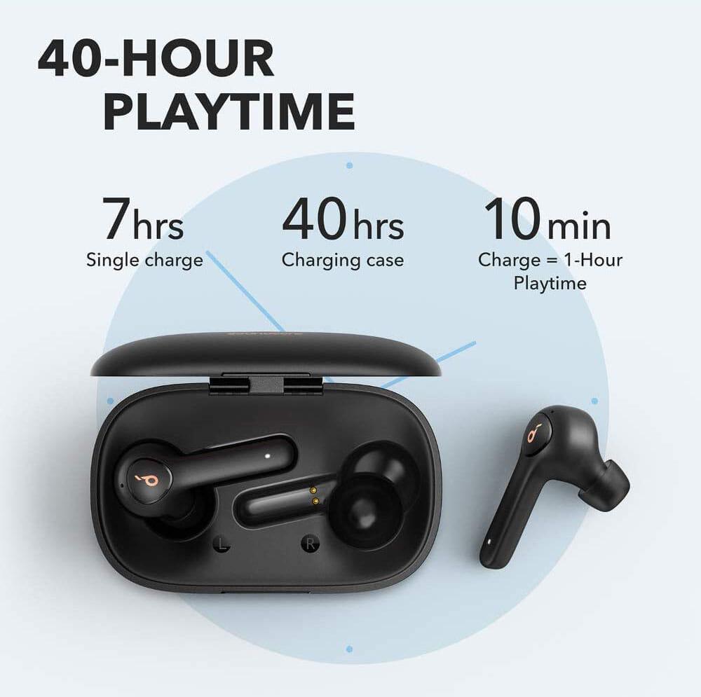 【Anker Soundcore Life P2レビュー】五千円で本体7時間再生・完全防水・AAC&APT-X・通話ノイキャン!!超高性能&高コスパBluetooth完全ワイヤレスイヤホン|本体単体で最大7時間・ケース併用で最大40時間のバッテリー性能