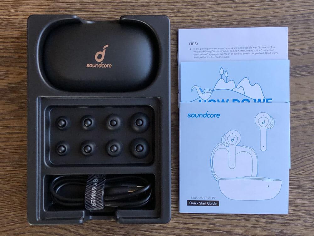 【Anker Soundcore Life P2レビュー】五千円で本体7時間再生・完全防水・AAC&APT-X・通話ノイキャン!!超高性能&高コスパBluetooth完全ワイヤレスイヤホン|付属品
