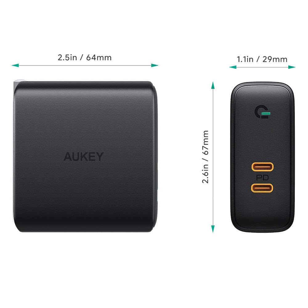 【Aukey PD対応急速充電器PA-D5レビュー】Anker Atom PD2より高コスパ!スマホ&PC二台持ちの方に最適なPD対応USB-Cポートを二つ搭載した急速充電器|優れているポイント:本体サイズはコンパクト、しかも軽い!