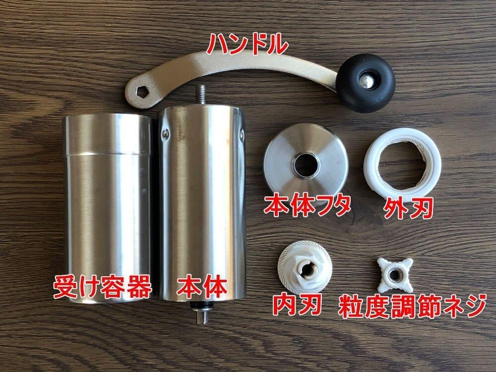 【ポーレックス・手動コーヒーミルの挽き方まとめ】アウトドアユースにおすすめ!人気のポーレックス製ミルの使い方|お手入れは水洗いでOK|ミルの構造:コーヒーミルを構成する部品