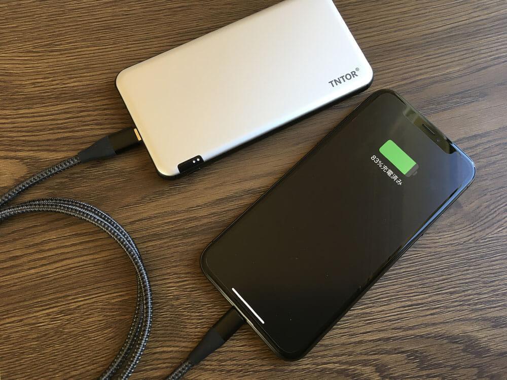 【TNTOR 超薄型モバイルバッテリーTN-10PDレビュー】10000mAhクラス最小最軽量で携帯性抜群!PD対応急速充電も可能なコスパ最強モバイルバッテリー 使ってみて感じたこと:充電性能にも抜かりが無く高性能。Anker製と変わりません。