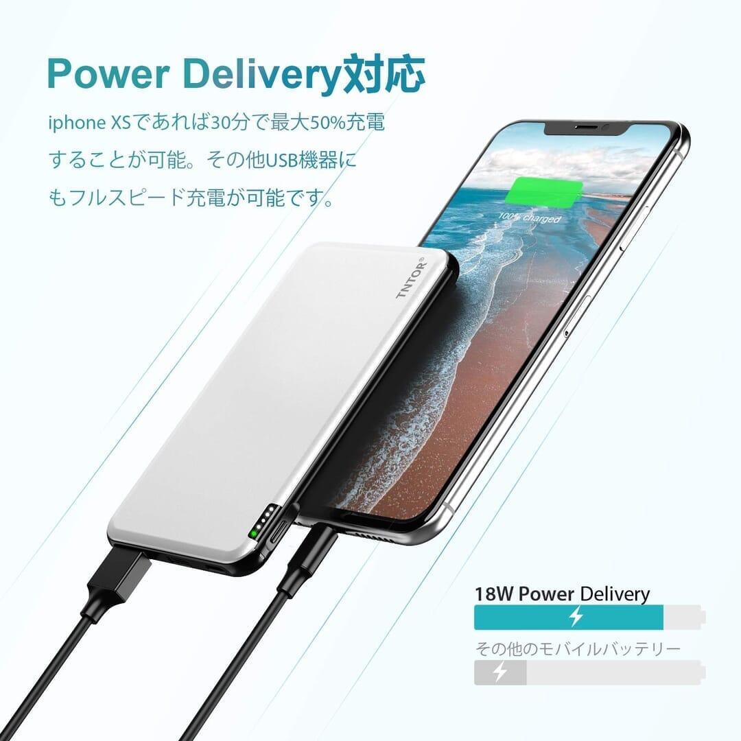 【TNTOR 超薄型モバイルバッテリーTN-10PDレビュー】10000mAhクラス最小最軽量で携帯性抜群!PD対応急速充電も可能なコスパ最強モバイルバッテリー 優れているポイント:PD急速充電に対応