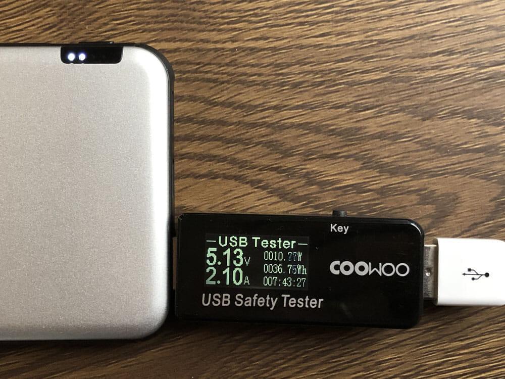 【TNTOR 超薄型モバイルバッテリーTN-10PDレビュー】10000mAhクラス最小最軽量で携帯性抜群!PD対応急速充電も可能なコスパ最強モバイルバッテリー 使ってみて感じたこと:「TN-10PD」の電流・電圧を実測してみました(USB-Aポート)