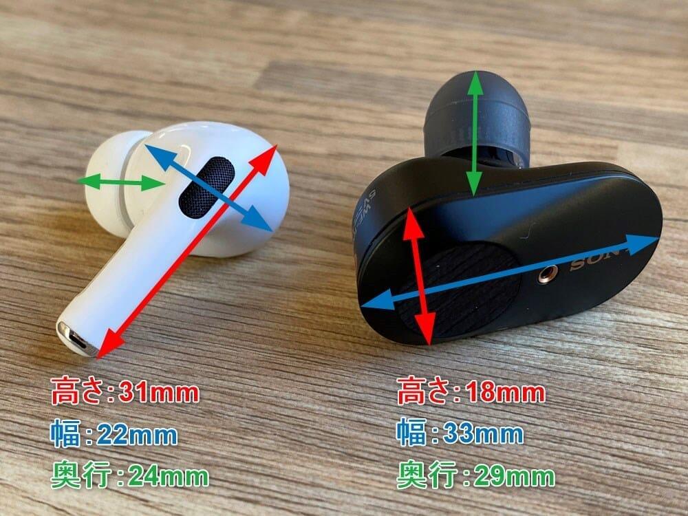 【AirPods Pro対SONY WF-1000XM3比較検証レビュー】ノイズキャンセリング性能・音質・使い勝手など話題のノイキャン完全ワイヤレスを比較してみた|外観:まずサイズ感ですが、寸法を見る限りは大きな差は感じませんが、手に乗せてみるとその差を感じます。