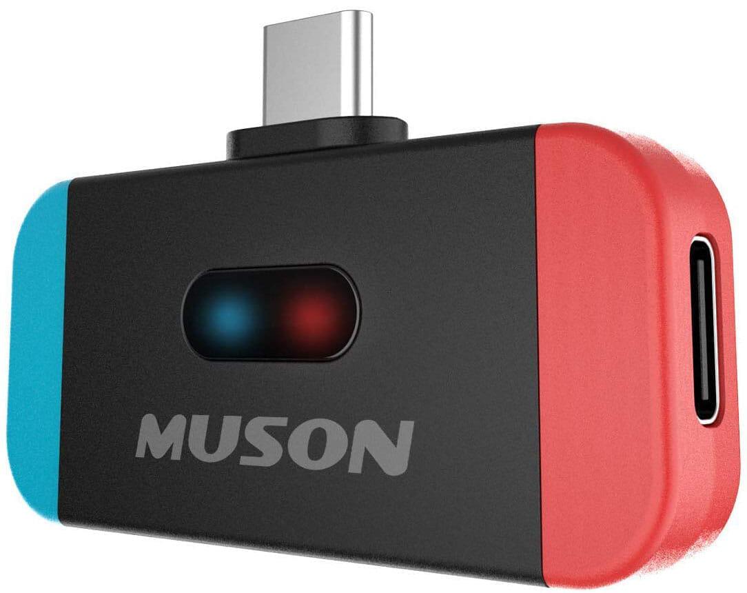 【ニンテンドースイッチにBluetoothイヤホンをつなぐガジェットまとめ】携帯モードはワイヤレスイヤホンが最高!おすすめのブルートゥース接続アイテム|ニンテンドースイッチ向けBluetoothトランスミッターの種類は?:USB-Cポート使用型Bluetoothトランスミッター:muson「MK3」