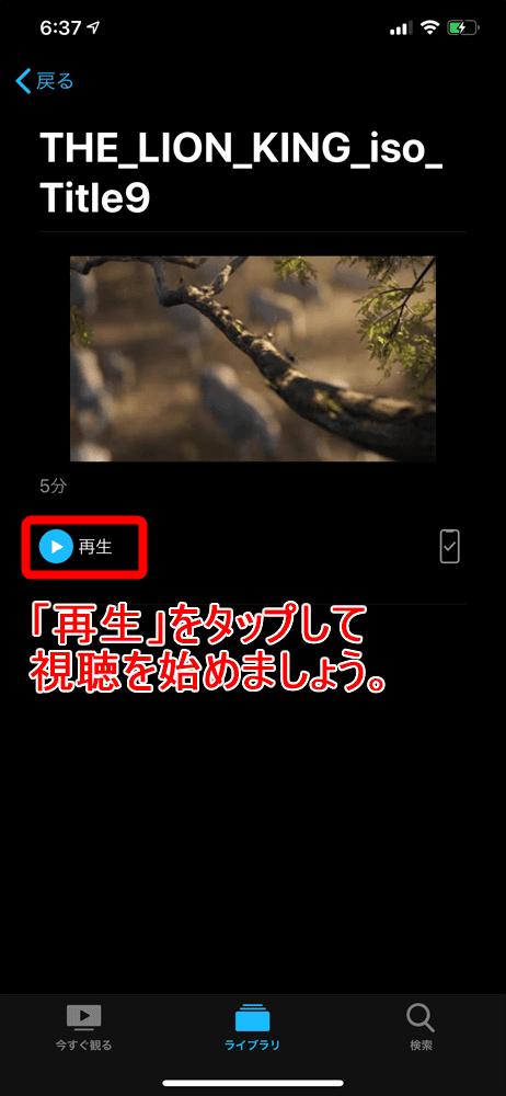 【WinX DVD Ripper PlatinumでDVDリッピング】制限付きはダウンロード無料!強力コピーガードも解除できるWinX DVD Ripperの使い方|ISO/MP4に一発変換|変換した動画データをiPhoneで視聴する:iPhoneで動画データを視聴する:動画個別のメニュー画面に移ったら、あとは「再生」をタップすれば動画が再生されます。