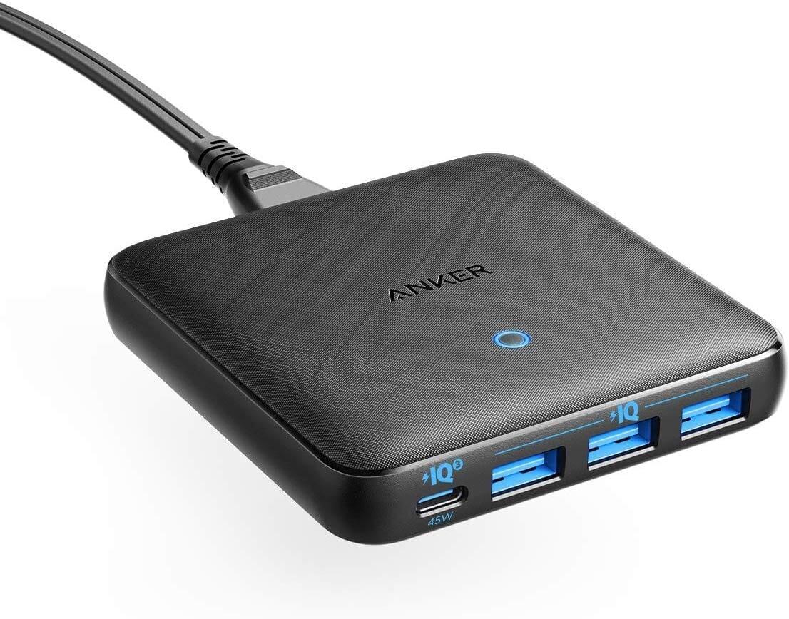 【Anker PowerPort Atom III Slim(Four Ports)レビュー】超軽量小型のモバイル向け多ポート急速充電器!持ち運び最強の合計65W高出力を誇るPD急速充電器|製品の公式画像