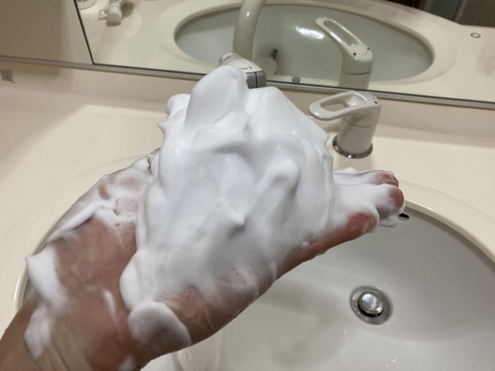 【バルクオム洗顔効果レビュー】ステマじゃなかった!洗顔料・化粧水・乳液を使って実感した「BULK HOMME(バルクオム)」の確かなスキンケア効果|スキンケア効果【比較検証】:実際に使ってみて感じたこと:泡立てネットを使うと、ご覧のようにモッコモコの泡が作り出せます。