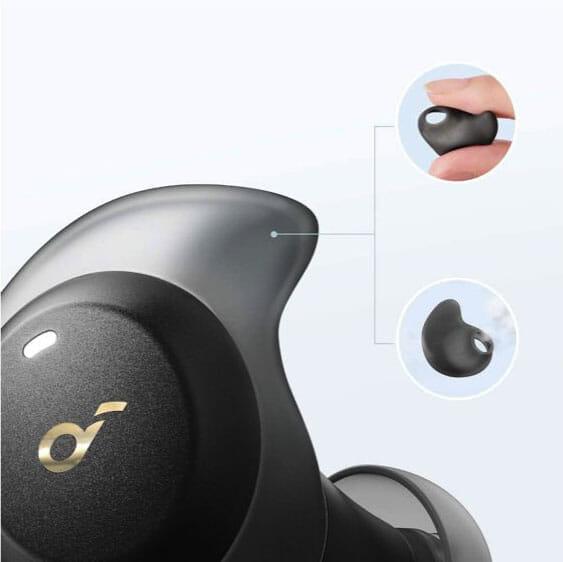 【Anker Soundcore Spirit Dot 2レビュー】スポーツ向けワイヤレスイヤホンの最適解!?完全防水で最大5.5時間連続再生&急速充電可能な完全ワイヤレスイヤホン|優れているポイント:スリムなデザインで快適な着け心地:また伸縮性の高いシリコンで作られているユニークな形状のイヤーウィングも、耳穴への絶妙なフィット感に貢献しています。