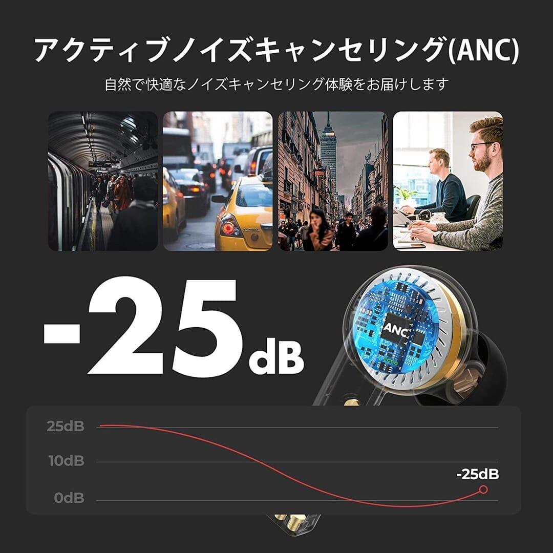 【Mpow X3 ANCレビュー】1万円未満でノイズキャンセリング機能搭載!最長7時間連続再生や10mmドライバーなど基本性能も高い完全ワイヤレスイヤホン|優れているポイント