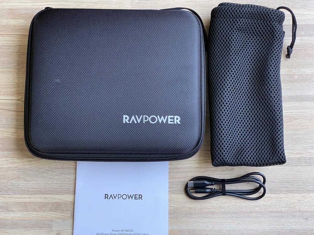 【RavPower RP-PB055新装版レビュー】超大容量30000mAh・AC100W&PD60W出力の最強性能を誇るモバイルバッテリーRavPower RP-PB055新装版|付属品