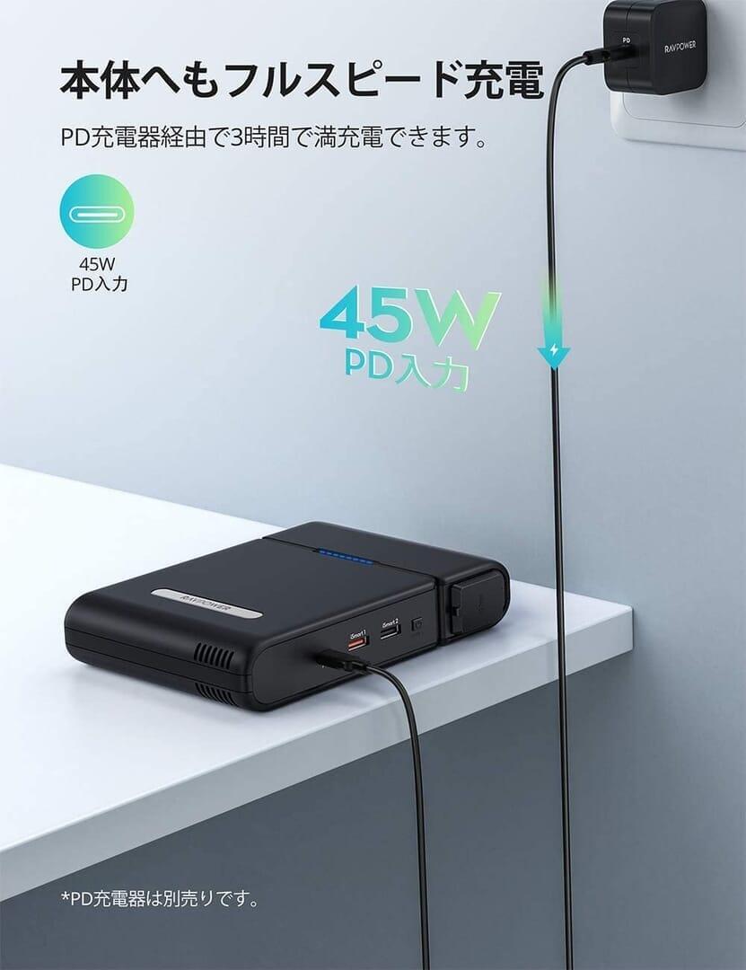 【RavPower RP-PB055新装版レビュー】超大容量30000mAh・AC100W&PD60W出力の最強性能を誇るモバイルバッテリーRavPower RP-PB055新装版|優れているポイント:バッテリー本体の充電も急速充電可能