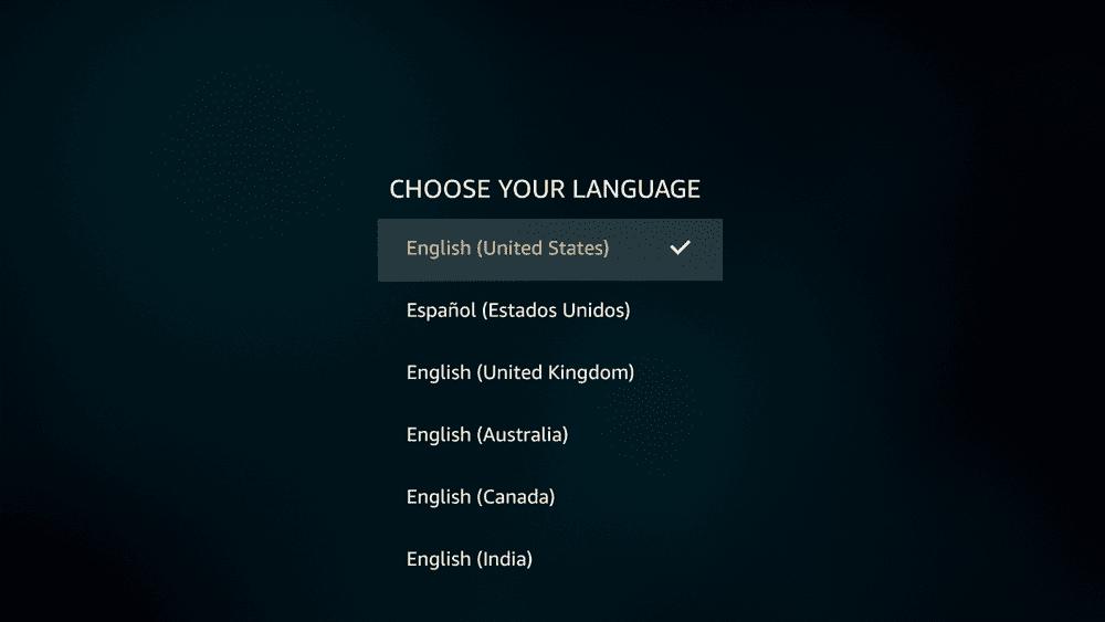 【アマゾンプライムビデオをテレビで見る方法】視聴方法は大きく分けて三通り!アマゾンプライムビデオをテレビで見る方法|Fire TV Stickが最適解!?|専用デバイスで見る:言語選択画面が表示されたら、お好みの言語を選択しましょう。 ここでは「日本語」を選択します(日本語は言語リストの最後の方にあります)。